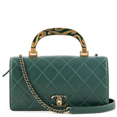 Chanel Green Calfskin Flap Bag With Enamel Top Handle - 1