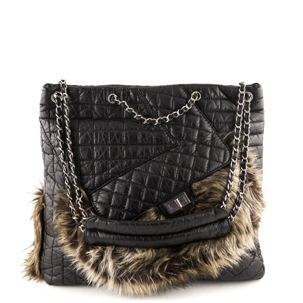 82aa3b1141664a Chanel Black Aged Calfskin & Fur Karl's Fantasy Cabas Tote - LOVE that BAG  - Preowned ...
