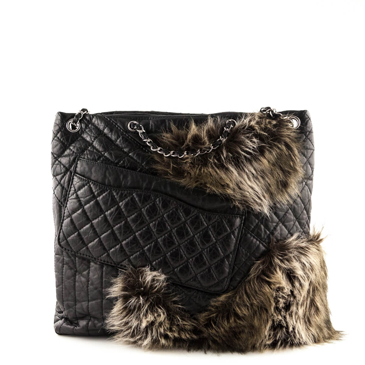 cf269a516202da ... Chanel Black Aged Calfskin & Fur Karl's Fantasy Cabas Tote - LOVE that  BAG - Preowned ...