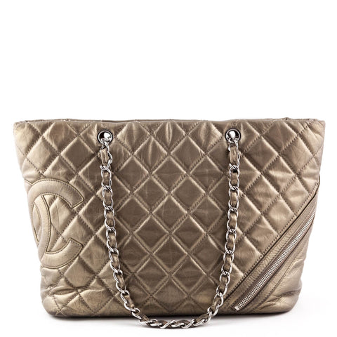 Chanel Metallic Aged Calfskin Cambon Cotton Club Shopping Tote