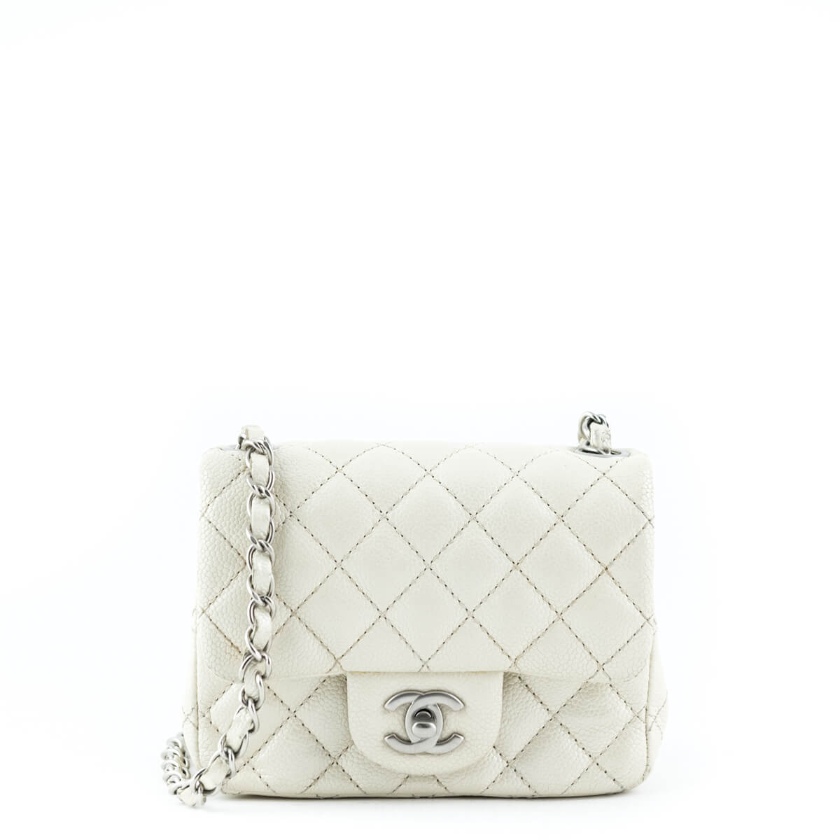 6830c849f54500 Chanel Metallic Ivory Caviar Mini Square Flap Bag - LOVE that BAG - Preowned  Authentic Designer ...