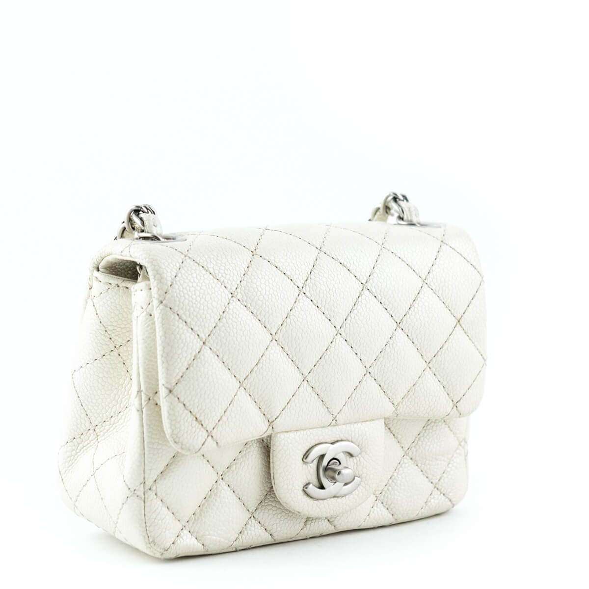 5fa79dd149ce81 ... Chanel Metallic Ivory Caviar Mini Square Flap Bag - LOVE that BAG -  Preowned Authentic Designer ...