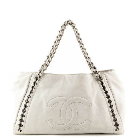 Chanel Off-White Calfskin Large Modern Chain E W Tote 41b6514b91ea8