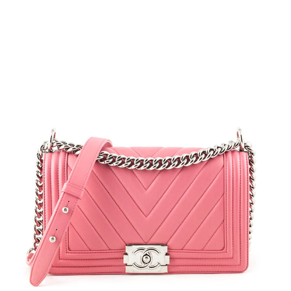 0db5a2b8d3a6 Chanel Pink Quilted Calfskin Medium Chevron Boy Bag - LOVE that BAG -  Preowned Authentic Designer