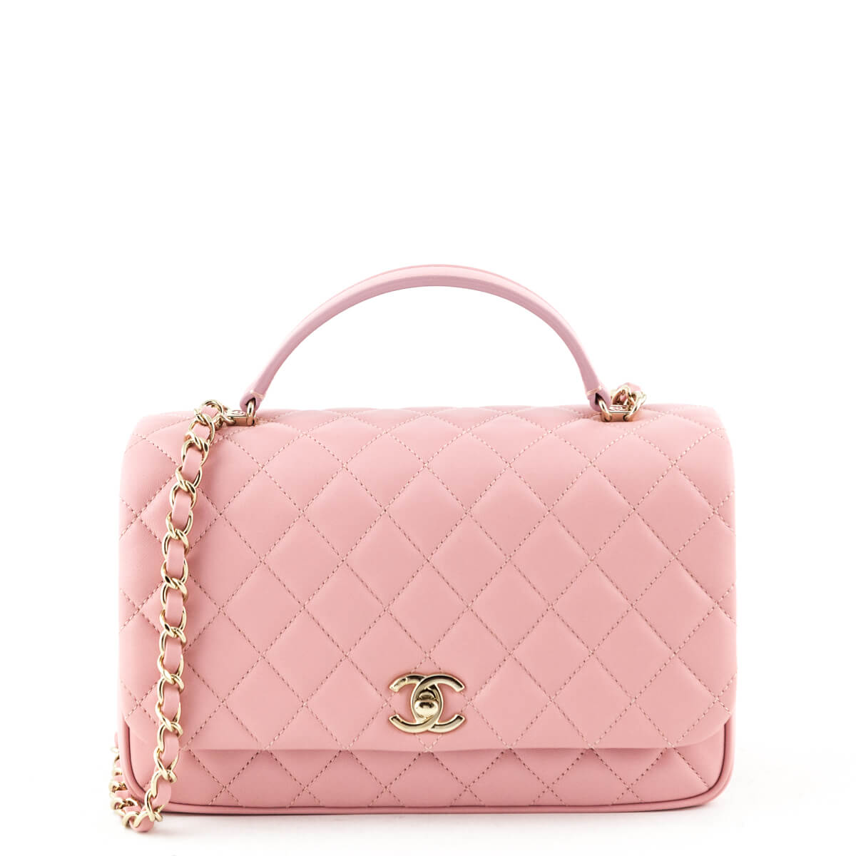 ee44e502e43006 Chanel Pink Quilted Lambskin Top Handle Flap Bag - LOVE that BAG - Preowned  Authentic Designer ...