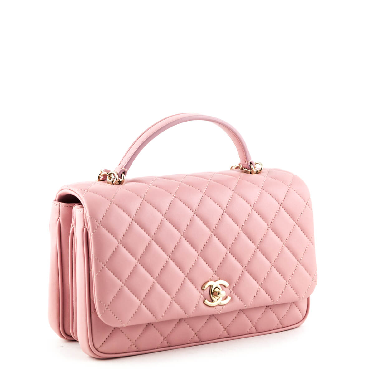 bd043b69d461 ... Chanel Pink Quilted Lambskin Top Handle Flap Bag - LOVE that BAG -  Preowned Authentic Designer ...