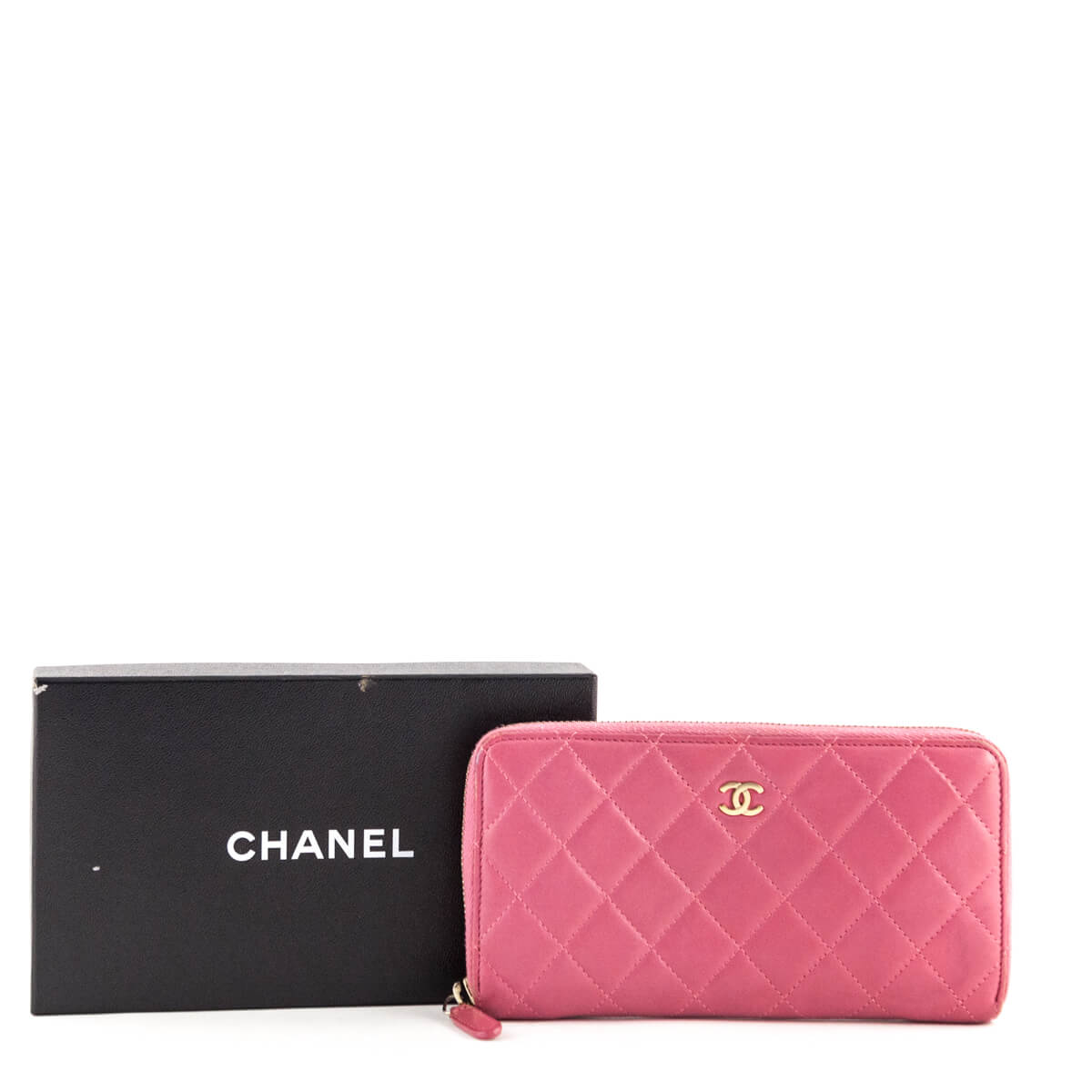 0f67f32404ac ... Chanel Pink Quilted Lambskin Zip Around Wallet - LOVE that BAG - Preowned  Authentic Designer Handbags ...