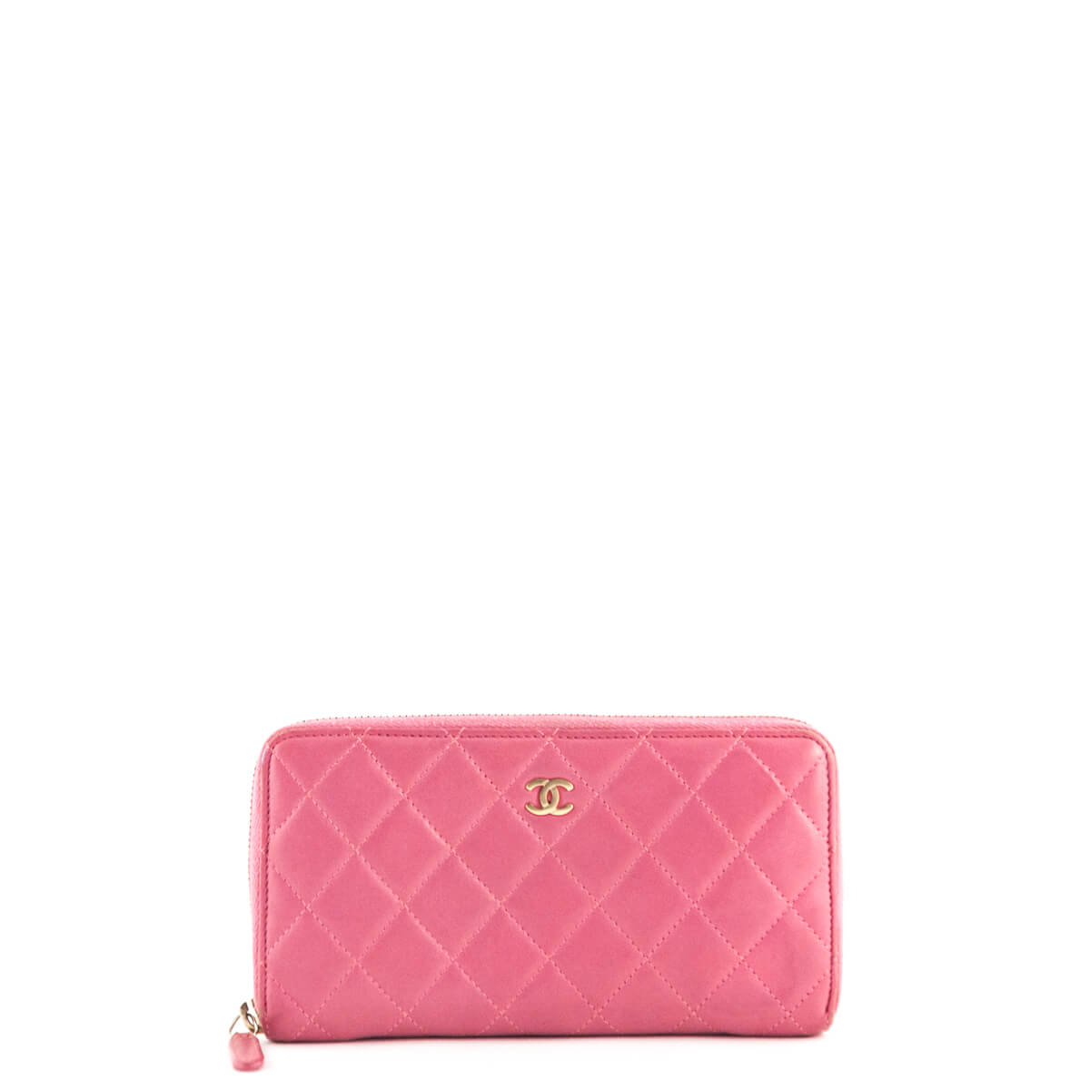 e966a97b0e44 Chanel Pink Quilted Lambskin Zip Around Wallet - LOVE that BAG - Preowned  Authentic Designer Handbags ...