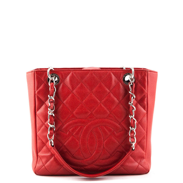 73c35d199f14 Chanel Red Caviar Petit Shopping Tote SHW - LOVE that BAG - Preowned  Authentic Designer Handbags