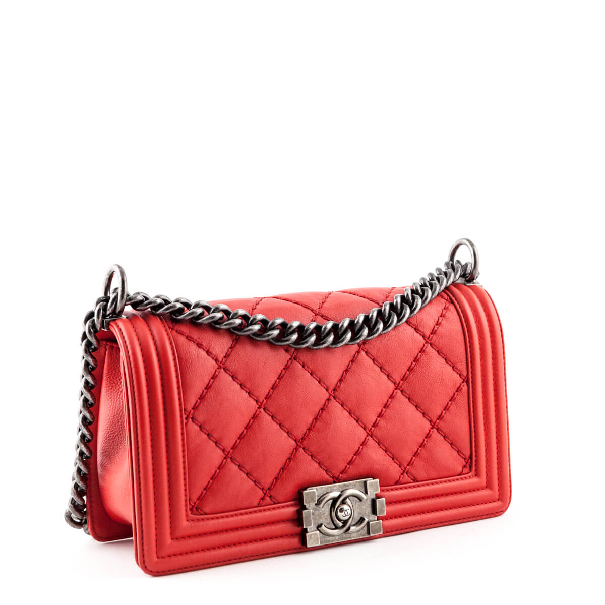 8f6359db29af ... Chanel Red Double Stitch Goatskin Old Medium Boy bag - LOVE that BAG -  Preowned Authentic ...