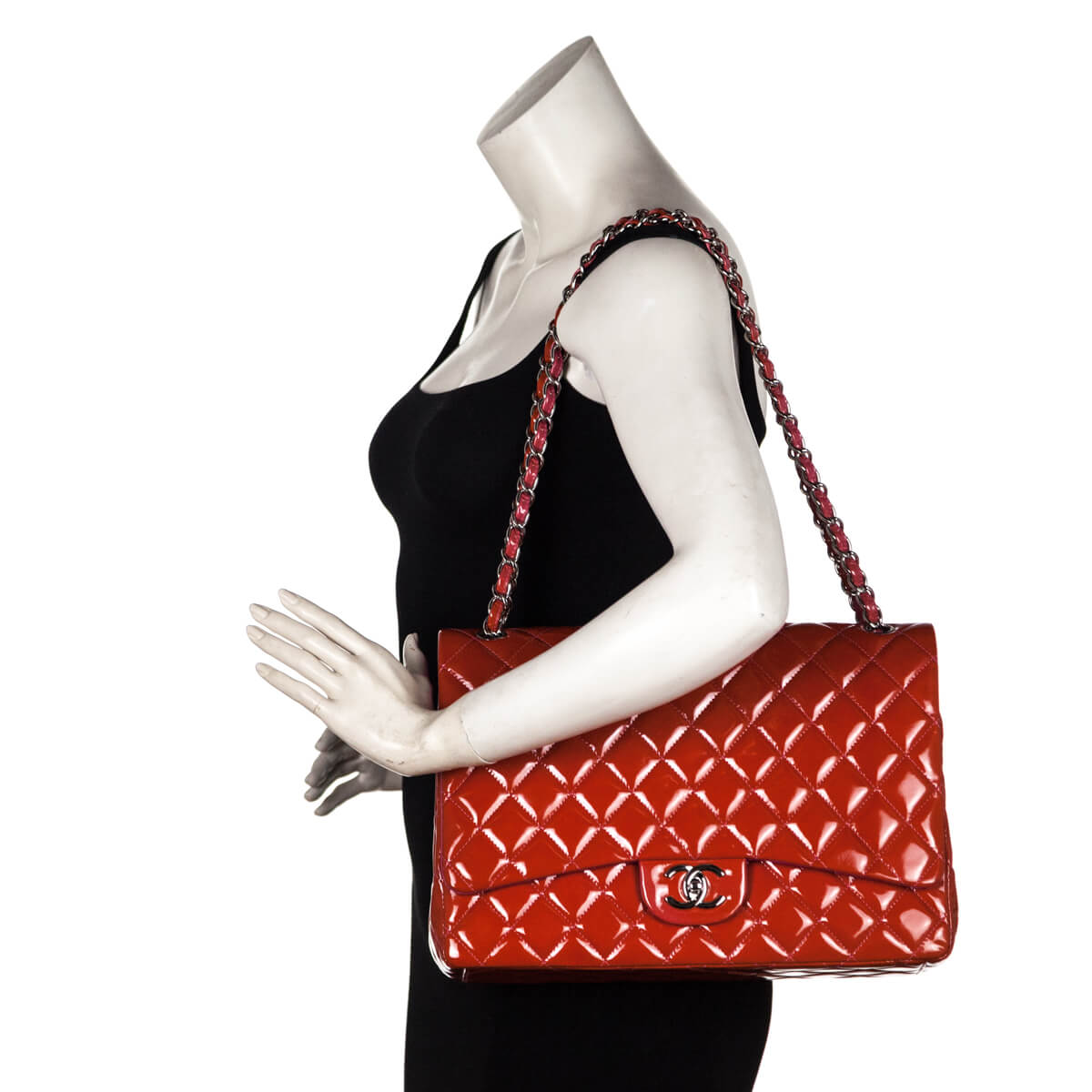 bfe0a2021e84 ... Chanel Red Patent Classic Maxi Flap Bag SHW - LOVE that BAG - Preowned  Authentic Designer