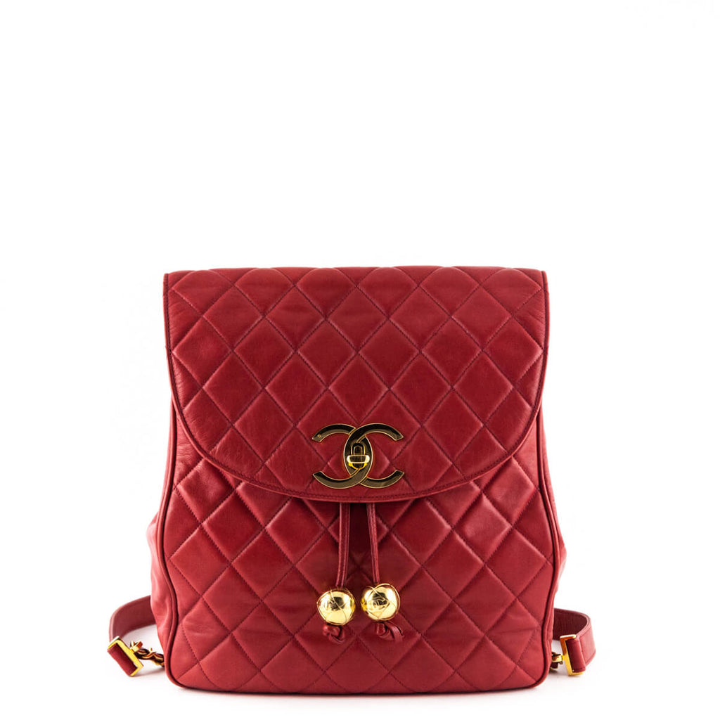 9dd2b315d9de Chanel Red Lambskin Vintage Quilted Backpack - LOVE that BAG - Preowned  Authentic Designer Handbags ...