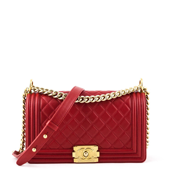 efac605b3461 Chanel Red Quilted Calfskin Medium Boy Bag - LOVE that BAG - Preowned  Authentic Designer Handbags