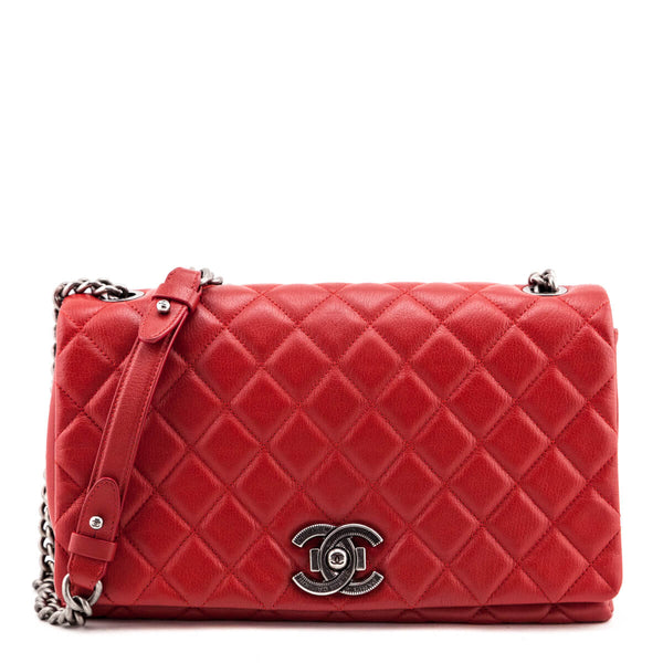 Chanel Red Quilted Goatskin Large City Rock Flap Bag
