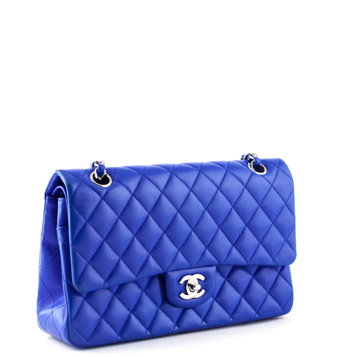 b6752cdd057f3a ... Chanel Royal Blue Lambskin Medium Classic Double Flap - LOVE that BAG -  Preowned Authentic Designer ...