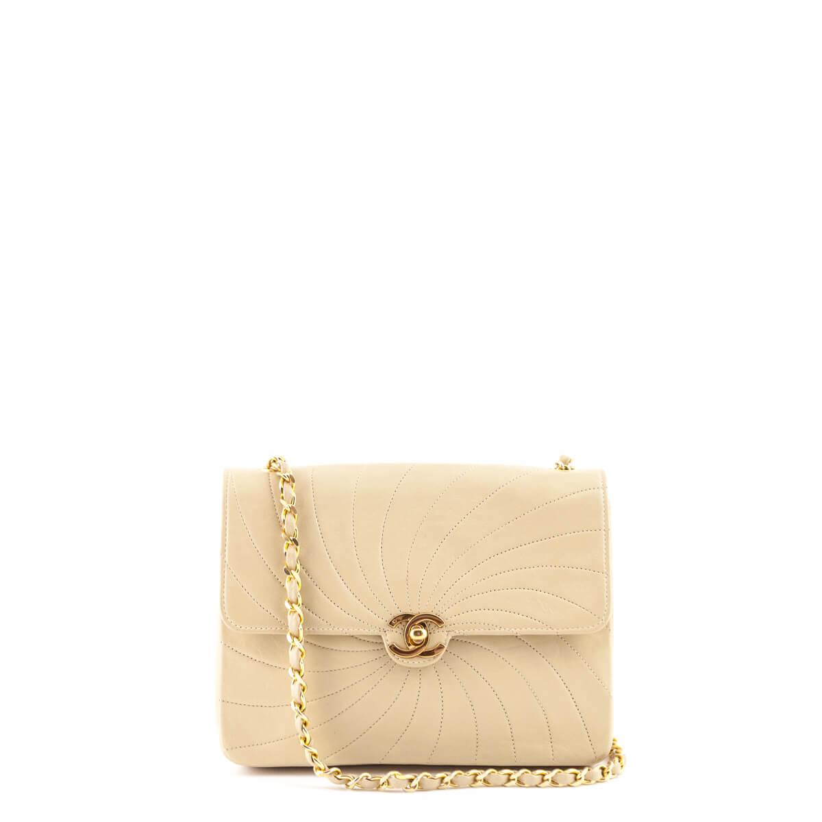 1f44887dc184a4 Chanel Beige Spiral Quilted Lambskin Vintage Flap GHW - LOVE that BAG -  Preowned Authentic Designer ...