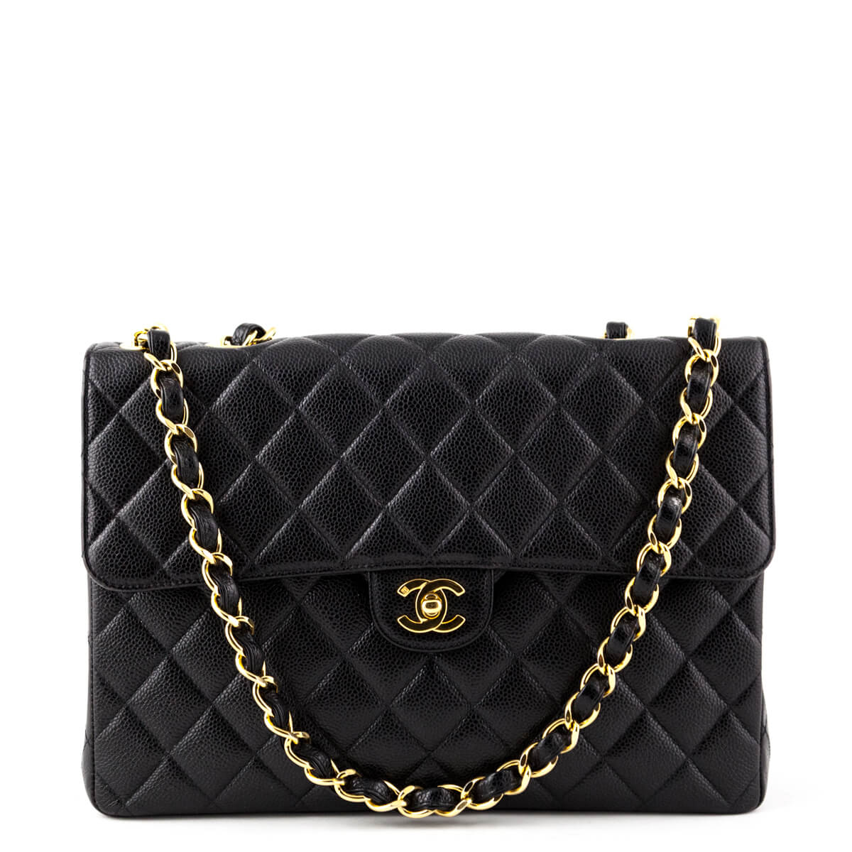 4c3849c65baf1b Chanel Vintage Black Caviar Jumbo Classic Flap Bag - LOVE that BAG - Preowned  Authentic Designer ...