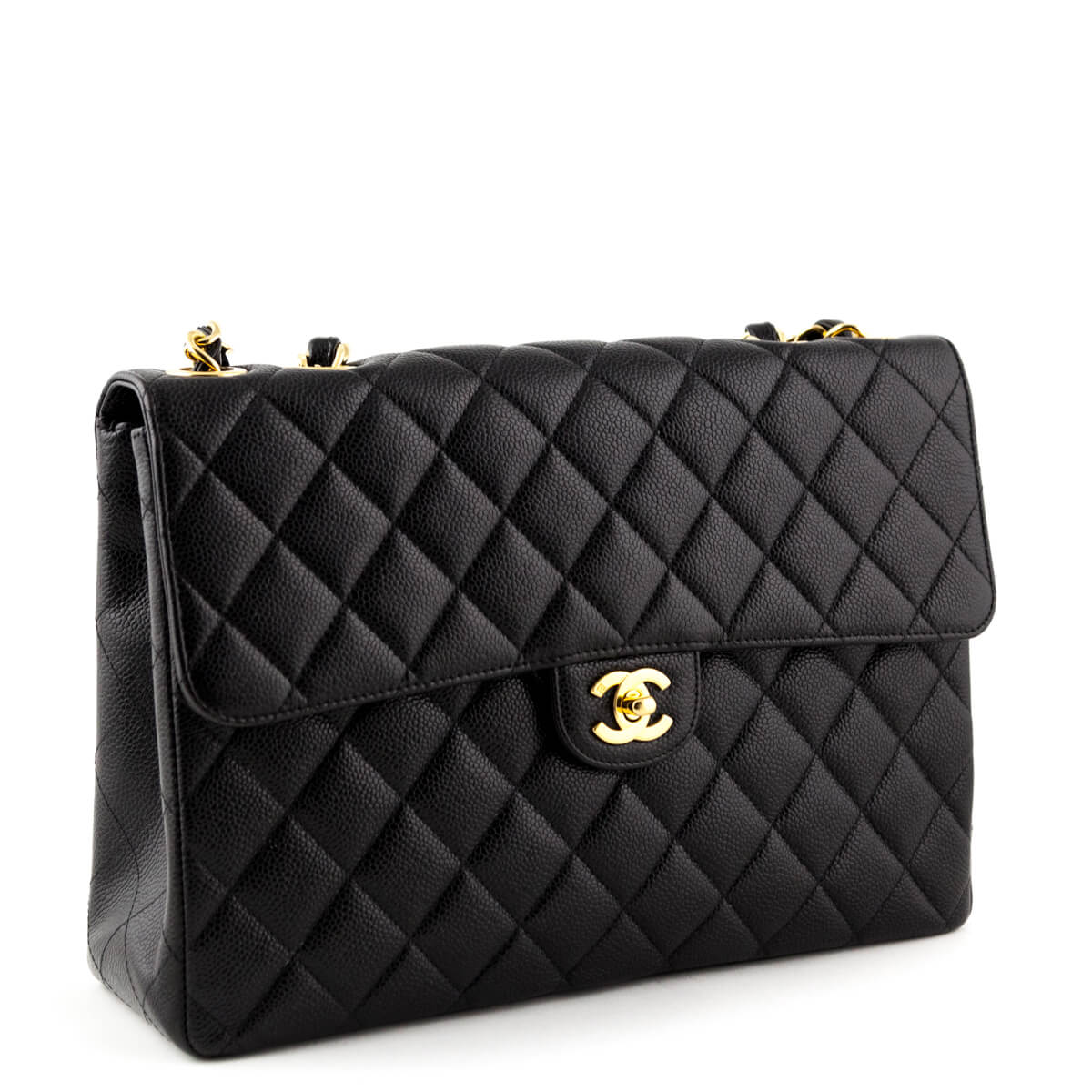 3774764304eb4e ... Chanel Vintage Black Caviar Jumbo Classic Flap Bag - LOVE that BAG - Preowned  Authentic Designer ...