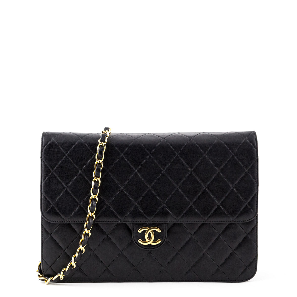 e905dc866b0d Chanel Black Lambskin Vintage Medium Classic Flap Bag - LOVE that BAG -  Preowned Authentic Designer ...