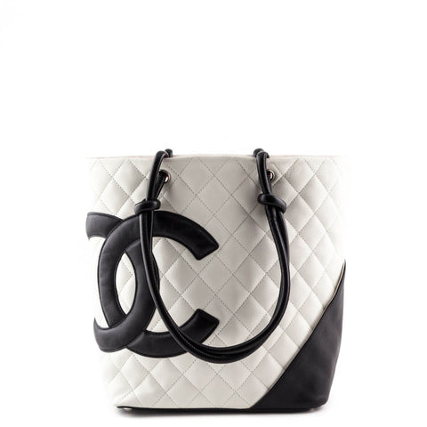 Chanel White Calfskin Medium Cambon Ligne Bucket Tote