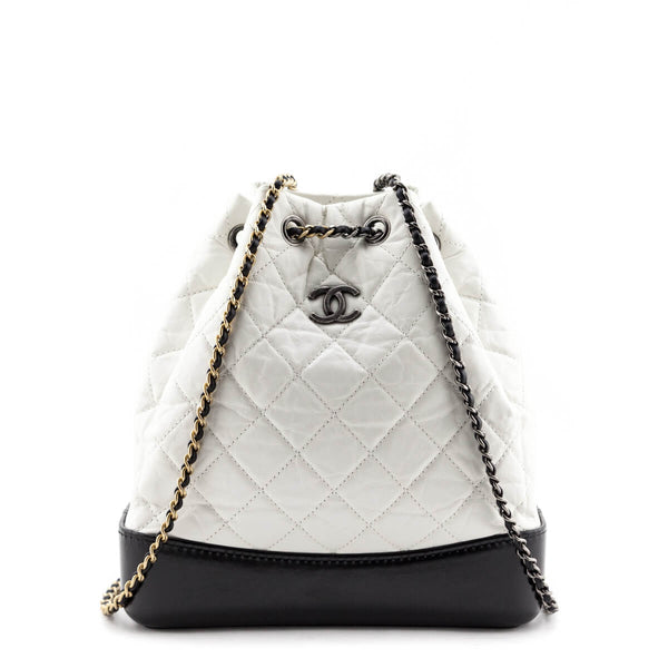 Chanel White Quilted Aged Calfskin Small Gabrielle Backpack