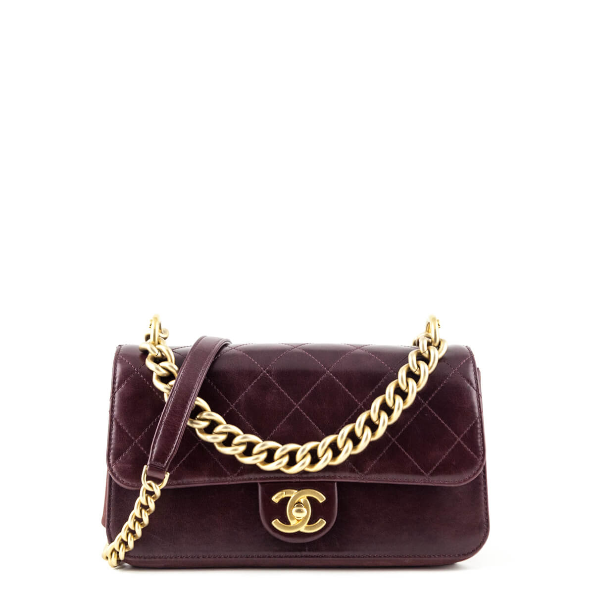 c44d31b90242 Chanel Wine Calfskin Small Straight-Lined Flap Bag - LOVE that BAG -  Preowned Authentic ...