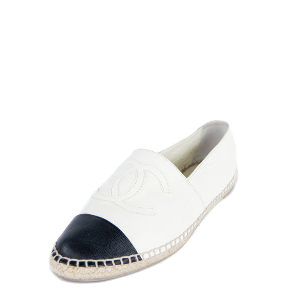 Chanel White & Black Leather Cap Toe Espadrilles Size US 11 | EU 41