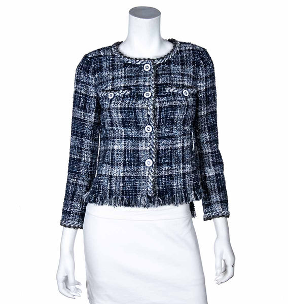 Chanel Blue Tweed Collarless Jacket Size XS | FR 36