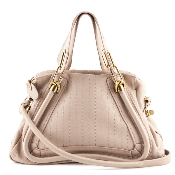 472d8b33d6 Chloe Abstract White Leather Medium Stitched Paraty Satchel - LOVE that BAG  - Preowned Authentic Designer