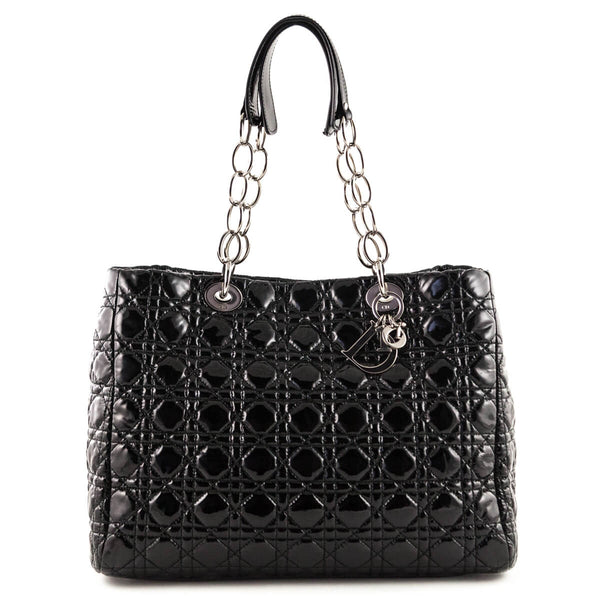 408f5fe1632 Dior Black Patent Cannage Large Soft Shopping Tote - LOVE that BAG -  Preowned Authentic Designer