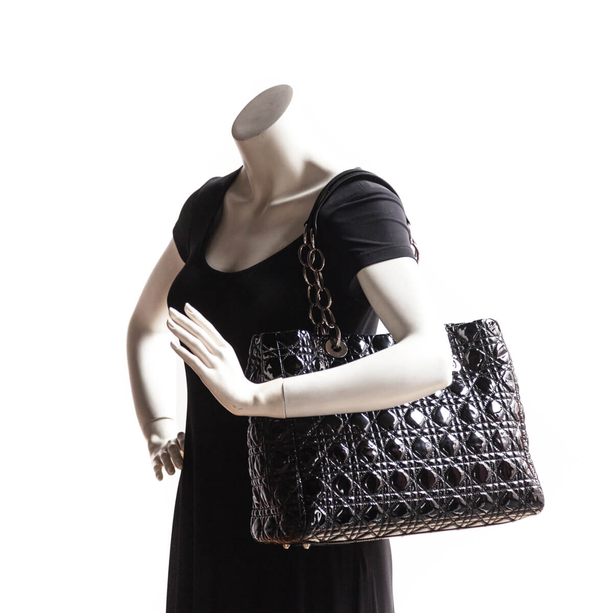78b0fe76076d ... Dior Black Patent Cannage Large Soft Shopping Tote - LOVE that BAG -  Preowned Authentic Designer