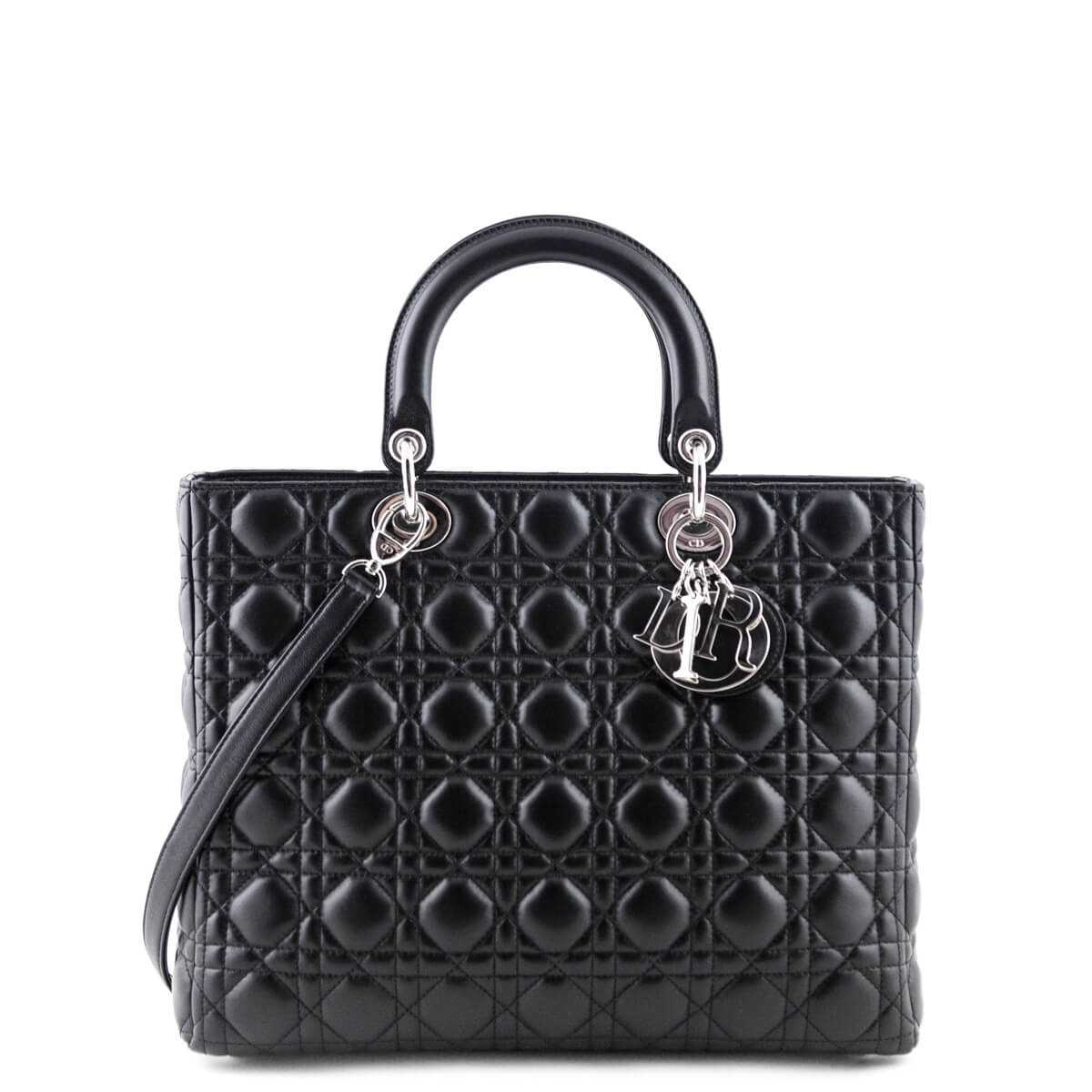 1326b3c49d Dior Black Cannage Lambskin Large Lady Dior - LOVE that BAG - Preowned  Authentic Designer Handbags ...