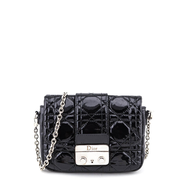 a8a8e09b457 Dior Black Cannage Patent Leather Mini New Lock Pouch Bag - LOVE that BAG -  Preowned