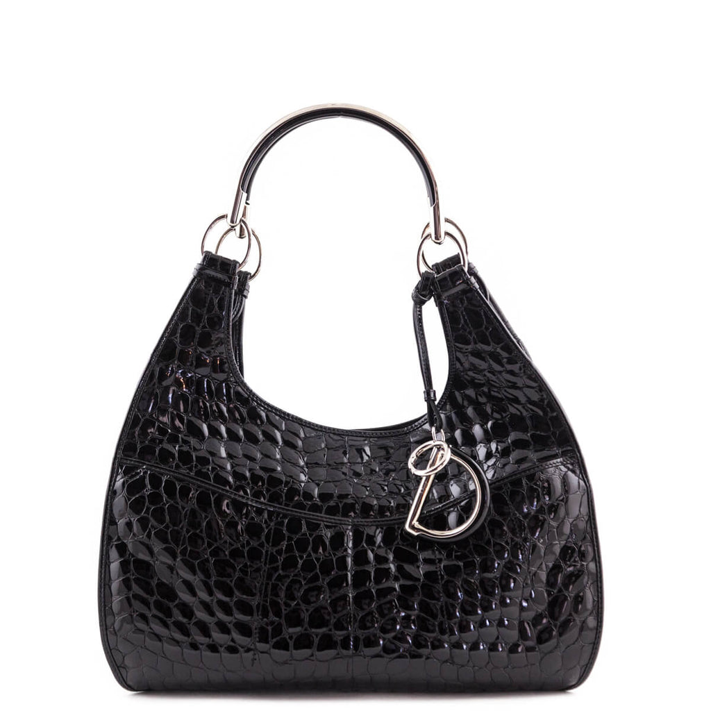 154246ae25d Dior Black Crocodile Embossed Patent 61 Shoulder Bag - LOVE that BAG -  Preowned Authentic Designer ...
