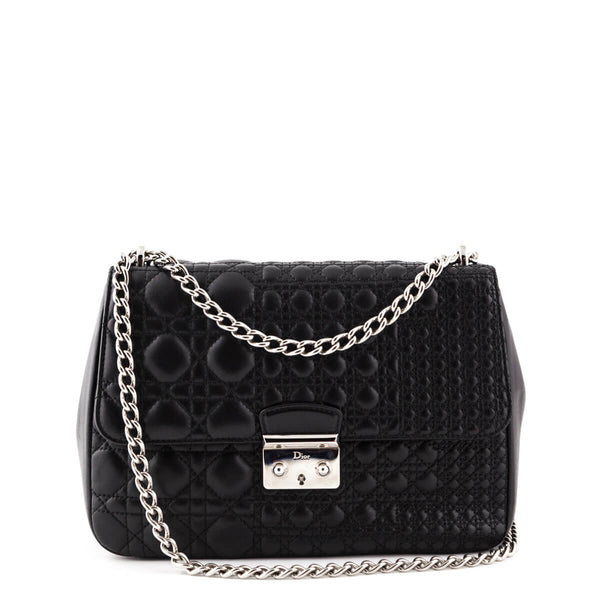 Dior Black Mini Cannage Calfskin Miss Dior Shoulder Bag - LOVE that BAG -  Preowned Authentic 97100183de6ef
