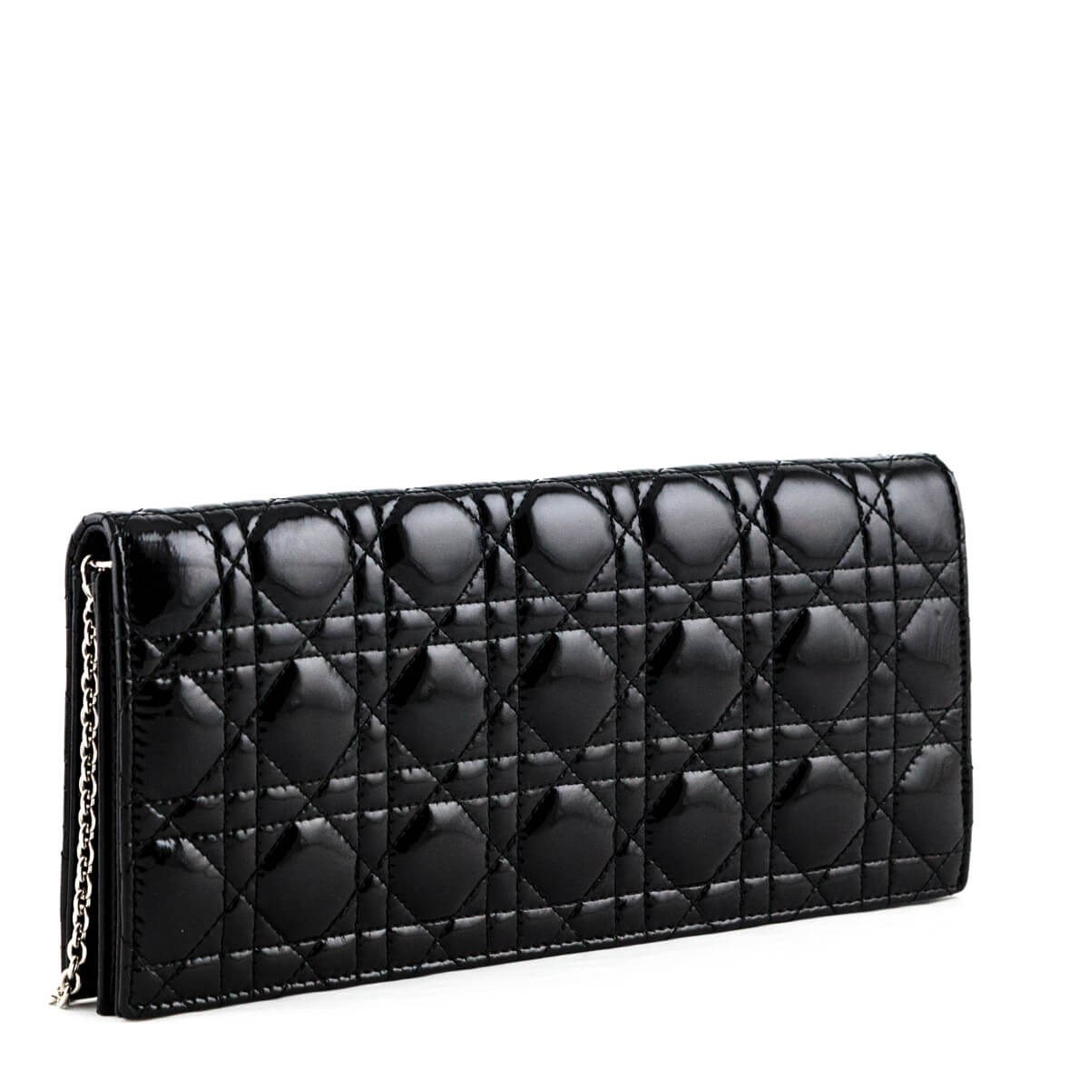 6bfcfe47b54aac ... Dior Black Patent Cannage Lady Dior Convertible Clutch - LOVE that BAG  - Preowned Authentic Designer ...