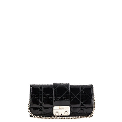 Dior Black Patent New Lock Wallet On Chain