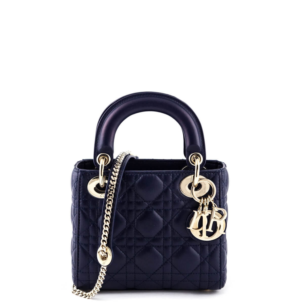 598106fc221 Dior Navy Cannage Lambskin Mini Lady Dior - LOVE that BAG - Preowned  Authentic Designer Handbags ...