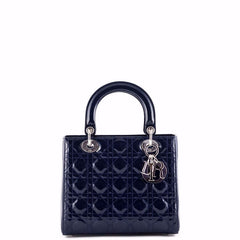 Dior Navy Cannage Patent Medium Lady Dior