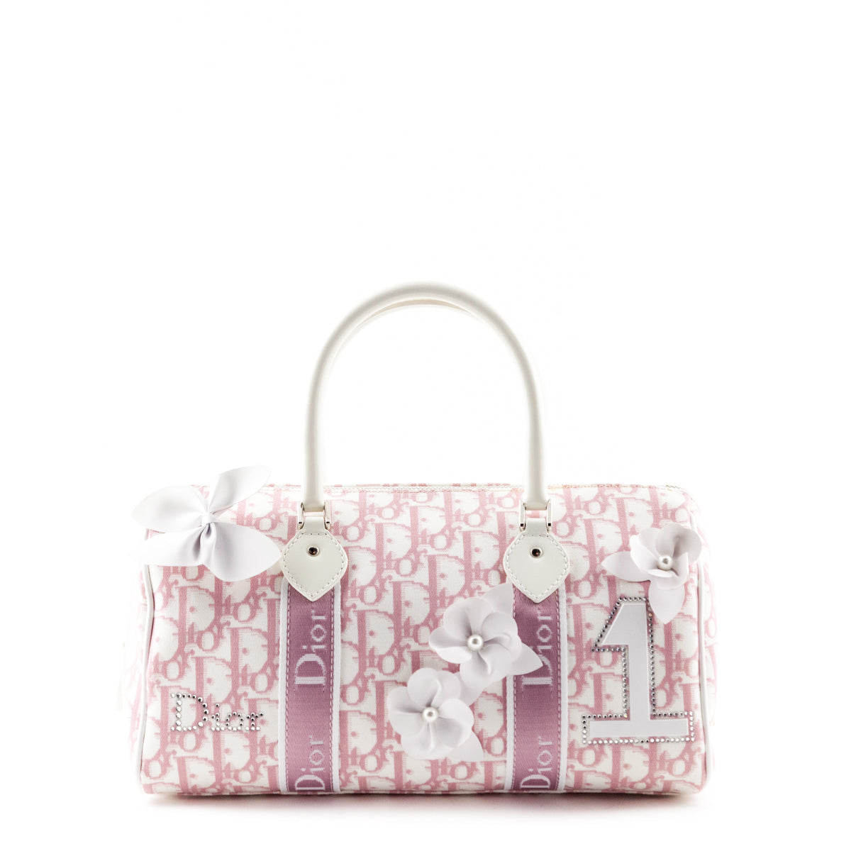 6dc2766a0b Dior Pink Diorissimo Canvas Boston Girly Flower Tote - LOVE that BAG -  Preowned Authentic Designer ...