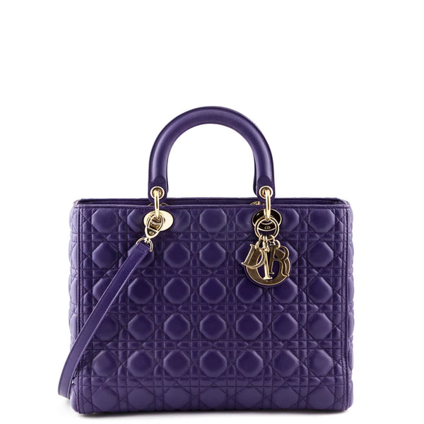 Dior Purple Cannage Lambskin Large Lady Dior - LOVE that BAG - Preowned  Authentic Designer Handbags 3b7d64b505