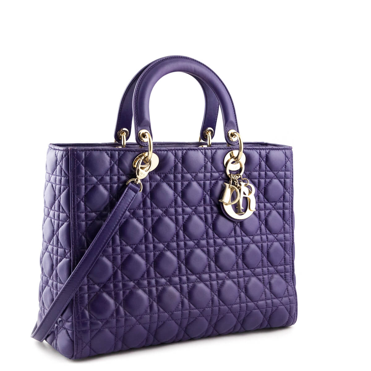 b3be147f9cb ... Dior Purple Cannage Lambskin Large Lady Dior - LOVE that BAG - Preowned  Authentic Designer Handbags ...