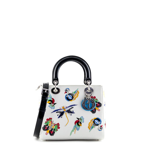 Dior White Embroidered Calfskin Medium Limited Edition Lady Dior