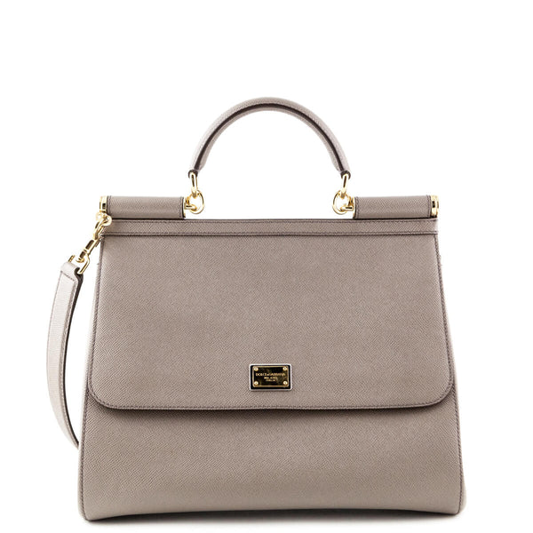 b22a21b9f325 Dolce   Gabbana Taupe Saffiano Large Sicily - LOVE that BAG - Preowned  Authentic Designer Handbags