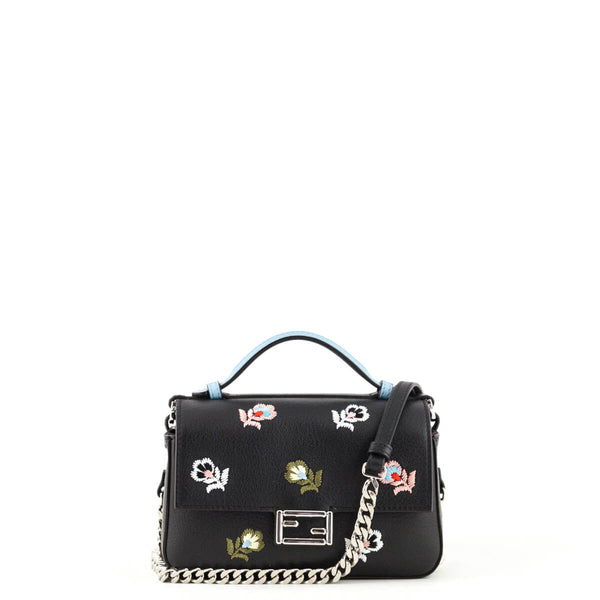 6b3ade0797 Fendi Beige   Black Flower Embroidered Double Baguette Crossbody - LOVE  that BAG - Preowned Authentic