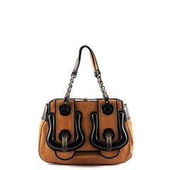 Fendi Tan & Patent Double B Bag