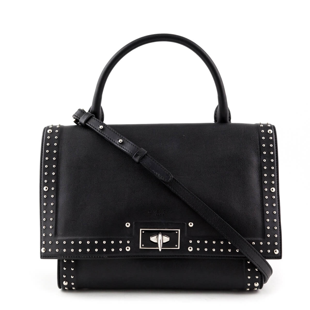 a79d1b8a3c Givenchy Black Calfskin Small Stud Couture Shark Tooth Satchel - LOVE that  BAG - Preowned Authentic ...