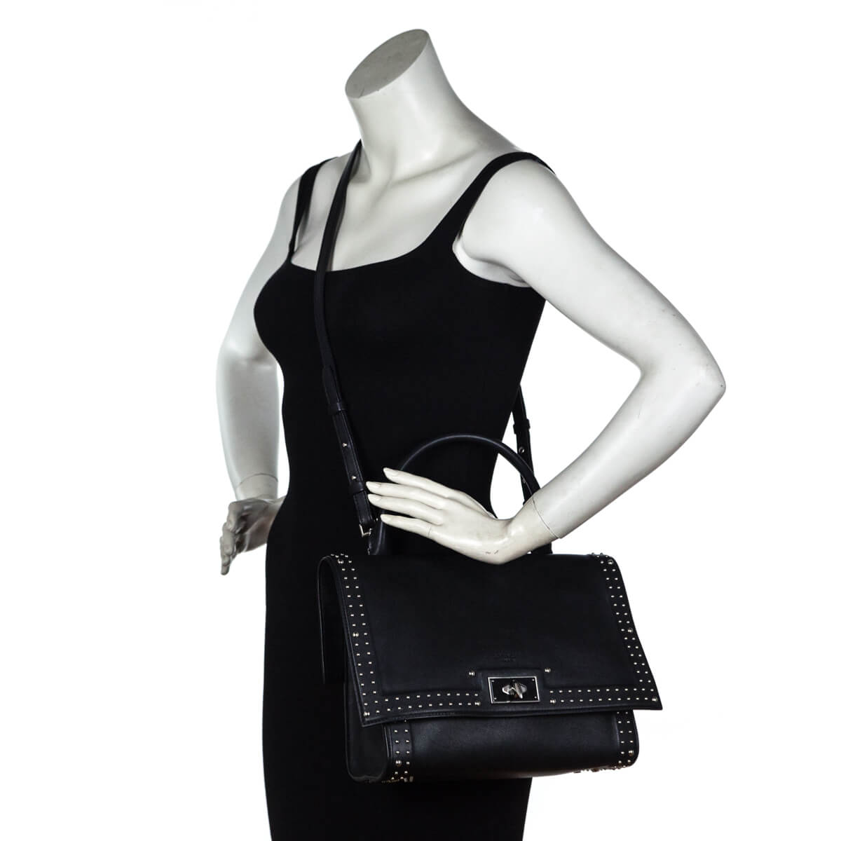 9cb170676e ... Givenchy Black Calfskin Small Stud Couture Shark Tooth Satchel - LOVE  that BAG - Preowned Authentic