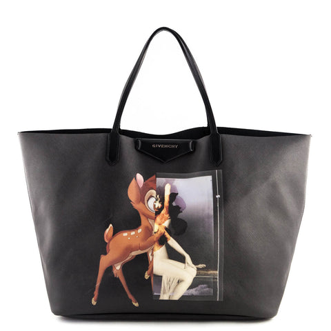 Givenchy Black Coated Canvas Bambi Podium Antigona Tote