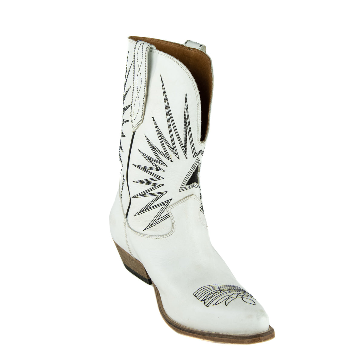 Golden Goose White Leather Wish Star